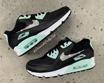 new products b1b0d 37d10 Swarovski Women s Nike Air Max 90 Black   Mint Green Sneakers Blinged Out  With Authentic Clear Swarovski Crystals Custom Bling Nike Shoes