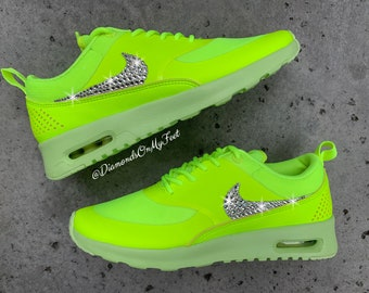 quality design 88863 cd765 Swarovski Women s Nike Air Max Thea Volt Green Sneakers Blinged Out With  Authentic Clear Swarovski Crystals Custom Bling Nike Shoes