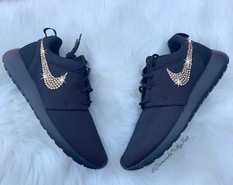 best website ab091 c58d9 Swarovski Women s Nike Roshe Run Roshe One All Black Sneakers Blinged Out  With Authentic Swarovski Crystals Custom Bling Shoes