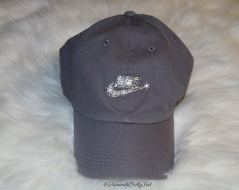 Swarovski Women s Bling Nike Hat Sportswear H86 Washed Futura Adjustable  Gray Cap Blinged Out With Swarovski Crystals 5a9494d18