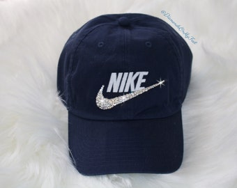 a0f80dba8b744 Swarovski Women s Bling Nike Hat Sportswear H86 Washed Futura Adjustable  Back Navy Blue Cap Blinged Out With Swarovski Crystals