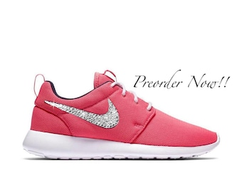 92450c370f8c Swarovski Women s Nike Roshe One Run Pink   Navy Sneakers Blinged Out With  Authentic Clear Swarovski Crystals Custom Bling Nike Shoes
