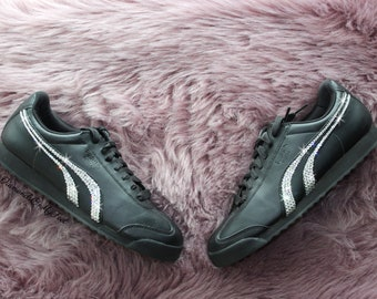 Swarovski Women s Puma Roma Basic Classic All Black Sneakers Blinged Out  With Authentic Clear Swarovski Crystals Custom Bling Puma Shoes 1a41ce29a