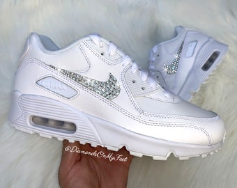 3f11620a8010e Swarovski Women s Nike Air Max 90 All White Sneakers Blinged Out With  Authentic Clear Swarovski Crystals Custom Bling Nike Shoes