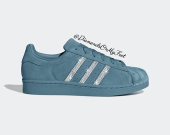 6b9208de Swarovski Women's Adidas Superstar All Teal Velvet Sneakers Blinged Out  With Authentic Clear Swarovski Crystals Custom Bling Adidas Shoes