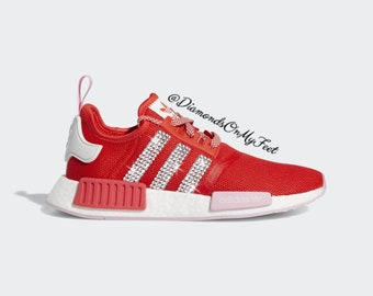 sale retailer dc5ba 11ebd Swarovski Womens Adidas Originals NMD R1 Active Red Sneakers Blinged Out  With Authentic Clear Swarovski Crystals Custom Bling Adidas Shoes