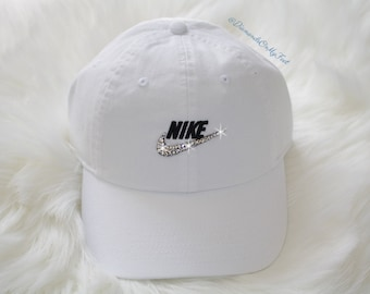 a068e7f605a0d Swarovski Women s Bling Nike Hat Sportswear H86 Washed Futura Adjustable White  Cap Blinged Out With Swarovski Crystals
