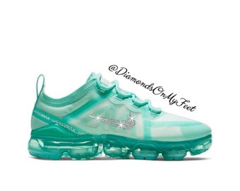new concept c6d1a c0591 Swarovski Women s Nike Air Vapormax 2019 Teal Tint Sneakers Blinged Out  With Authentic Clear Swarovski Crystals Custom Bling Nike Shoes
