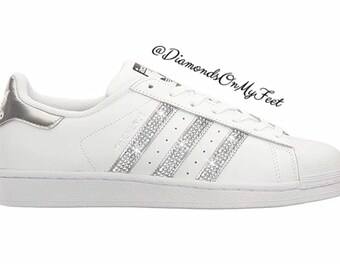 sale retailer b7820 90b44 Swarovski Women s Adidas Superstar White   Silver Sneakers Blinged Out With  Authentic Clear Swarovski Crystals Custom Bling Adidas Shoes