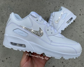 wholesale dealer 5cbf0 76a1f Swarovski Women s Nike Air Max 90 All White Sneakers Blinged Out With  Authentic Clear Swarovski Crystals Custom Bling Nike Shoes
