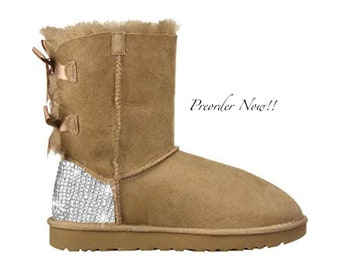 10936cc80430 Swarovski Women's UGG Bailey Bow 2 Mid Light Brown Boots Blinged Out With  Authentic Clear Swarovski Crystals Custom Bling Adidas Shoes