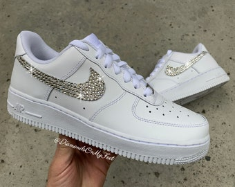 the latest e3c45 a209c Swarovski Women s Nike Air Force 1 All White Low Sneakers Blinged Out With  Authentic Clear Swarovski Crystals Custom Bling Nike Shoes