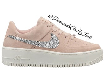 best service 72ab6 9ed3c Swarovski Womens Nike Air Force 1 Sage Light Pink Shoes Sneakers Blinged  Out With Authentic Clear Swarovski Crystals Custom Bling Nike Shoes