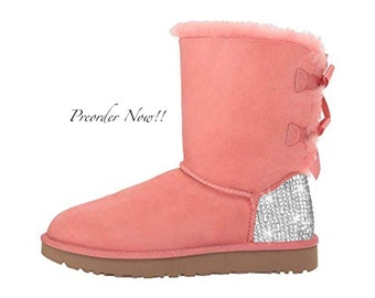 eed20319b459 Swarovski Women's UGG Bailey Bow 2 Mid Pink Boots Blinged Out With  Authentic Clear Swarovski Crystals Custom Bling Adidas Shoes