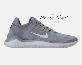 Swarovski Women s Nike New Free RN Run 2018 Gray   White Sneakers Blinged  Out With Authentic Clear Swarovski Crystals Custom Bling Nike Shoe 00f4612261c5