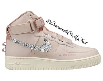hot sales 13bfc 1249f Swarovski Women s Nike Air Force 1 High Utility Pink Sneakers Blinged Out  With Authentic Clear Swarovski Crystals Custom Bling Nike Shoes