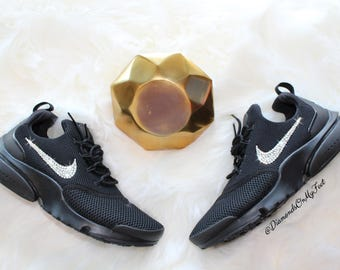 261cee13f81c4 Swarovski Women s Nike Presto Fly All Black Sneakers Blinged Out With  Authentic Clear Swarovski Crystals Custom Bling Nike Shoes
