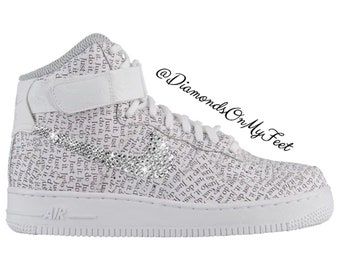 new products 3a4ad 43893 Swarovski Women s Nike Air Force 1 High White Just Do It Print Shoes  Blinged With Authentic Clear Swarovski Crystals Custom Bling Nike Shoes