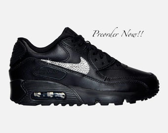 62bb14e851a41 Swarovski Women s Nike Air Max 90 All Black Sneakers Blinged Out With  Authentic Clear Swarovski Crystals Custom Bling Nike Shoes