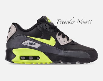 Swarovski Women s Nike Air Max 90 Black   Volt Sneakers Blinged Out With  Authentic Clear Swarovski Crystals Custom Bling Nike Shoes 3c22f118d