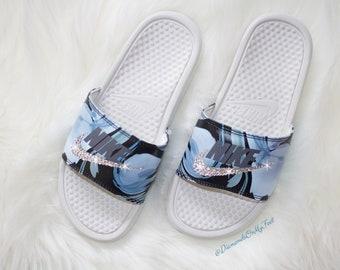 best service 40308 9dc14 Swarovski Women s Nike Benassi JDI Print Blue Design Slides Blinged Out  With Authentic Clear Swarovski Crystals Custom Bling Nike Sandals