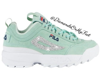 13cc3f53 Swarovski Women's Fila Disruptor 2 Premium Mint Green Suede Shoes Blinged  With Authentic Clear Swarovski Crystals Custom Bling Adidas Shoes