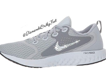 info for 36d3c 7dd85 Swarovski Women s Nike Legend React Wolf Grey Sneakers Blinged Out With  Authentic Clear Swarovski Crystals Custom Bling Nike Shoes