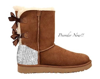 8dcc7c4435c7 Swarovski Women's UGG Bailey Bow 2 Mid Chestnut Boots Blinged Out With  Authentic Clear Swarovski Crystals Custom Bling Adidas Shoes