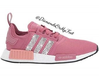 Swarovski Womens Adidas Originals NMD R1 Vivid Pink Sneakers