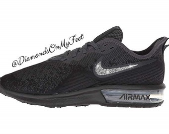 quality design 90299 cd323 Nike Swarovski femmes Air Max Sequent 4 All Black Out Blinged baskets avec  des cristaux Swarovski clairs authentique Bling personnalisé Nike chaussures