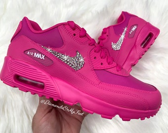 reputable site 6c8ad 540b5 Swarovski Women s Nike Air Max 90 Fuchsia Pink Sneakers Blinged Out With  Authentic Clear Swarovski Crystals Custom Bling Nike Shoes