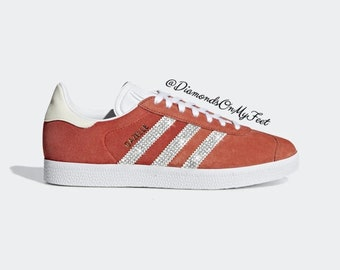 info for d7718 adf11 Swarovski Women s Adidas Originals Gazelle Raw Amber Sneakers Blinged With  Authentic Clear Swarovski Crystals Custom Bling Adidas Shoes