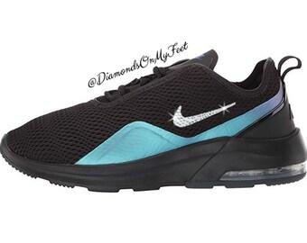 new product f8181 20345 Nike Air Max Motion 2 baskets noires de Swarovski femmes Blinged avec des  cristaux de Swarovski clairs authentiques Custom bling chaussures Nike