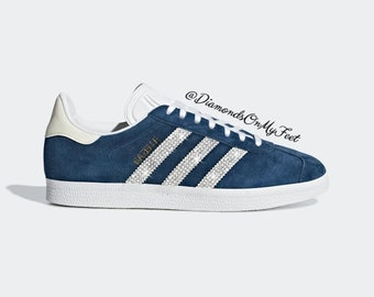 62bc7062 Swarovski Women's Adidas Originals Gazelle Navy Blue Sneakers Blinged With  Authentic Clear Swarovski Crystals Custom Bling Adidas Shoes