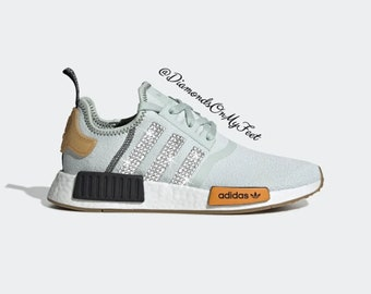 super popular 76ff2 a3964 Swarovski Womens Adidas Originals NMD R1 Mint Green Sneakers Blinged Out  With Authentic Clear Swarovski Crystals Custom Bling Adidas Shoes