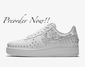 3cf979ab127c Swarovski Women s Nike Air Force 1 XX Studded White Sneakers Blinged Out  With Authentic Clear Swarovski Crystals Custom Bling Nike Shoes