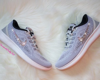 493726442552 Swarovski Women s Nike New Free RN Run 2017 Gray   White Sneakers Blinged  Out With Authentic Clear Swarovski Crystals Custom Bling Nike Shoe