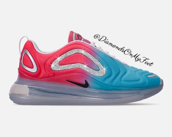 72461a5122 Swarovski Women's Nike Air Max 720 Fuchsia & Teal Sneakers Blinged Out With  Authentic Clear Swarovski Crystals Custom Bling Nike Shoes