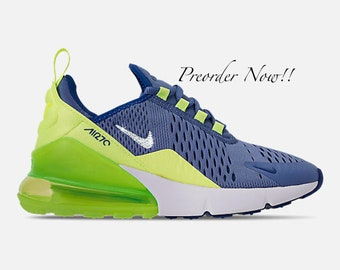 484d79b8908 Swarovski Women's Nike Air Max 270 Blue & Volt Green Sneakers Blinged Out  With Authentic Clear Swarovski Crystals Custom Bling Nike Shoes