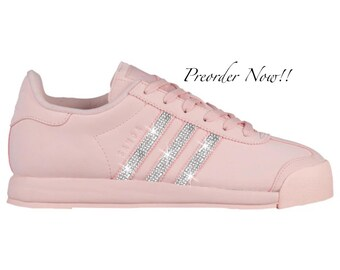 half off eabb7 c928c Swarovski Women s Adidas Originals Samoa Icey Pink Sneakers Blinged Out  With Authentic Clear Swarovski Crystals Custom Bling Adidas Shoes