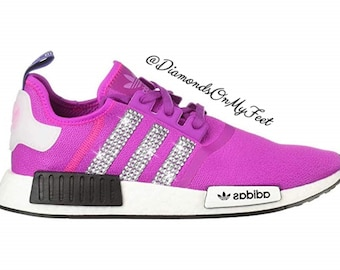 online store 519c7 c1e37 Swarovski Womens Adidas Originals NMD R1 Vivid Pink Sneakers Blinged Out  With Authentic Clear Swarovski Crystals Custom Bling Adidas Shoes