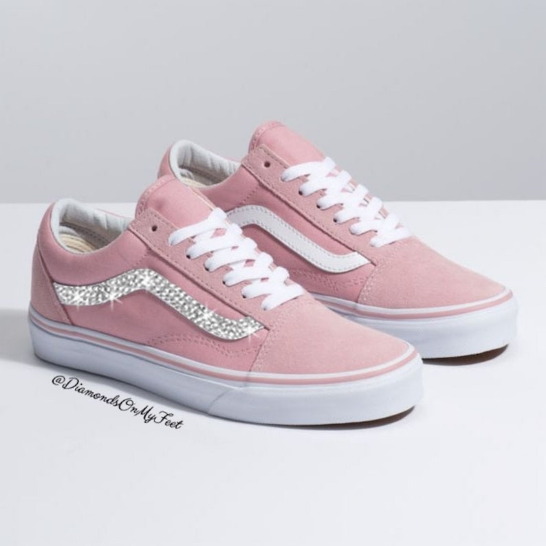 b08cb45ee735a Swarovski Women's Vans Old Skool Light Pink Low Top Shoes Sneakers Blinged  Out With Authentic Clear Swarovski Crystals Custom Bling Shoes