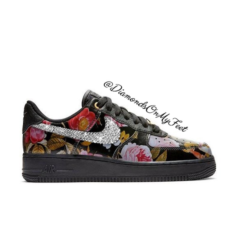 fe09f33c0d5f2 Swarovski Women's Nike Air Force 1 Black Floral Low Sneakers Blinged Out  With Authentic Clear Swarovski Crystals Custom Bling Nike Shoes