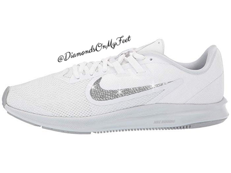 e648826130a5e Swarovski Women's Nike Downshifter 8 White Sneakers Blinged Out With  Authentic Clear Swarovski Crystals Custom Bling Nike Shoes