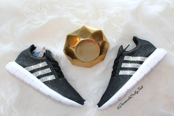 Swarovski Women s Adidas Originals Swift Run Black  0bb4a41e7fe7
