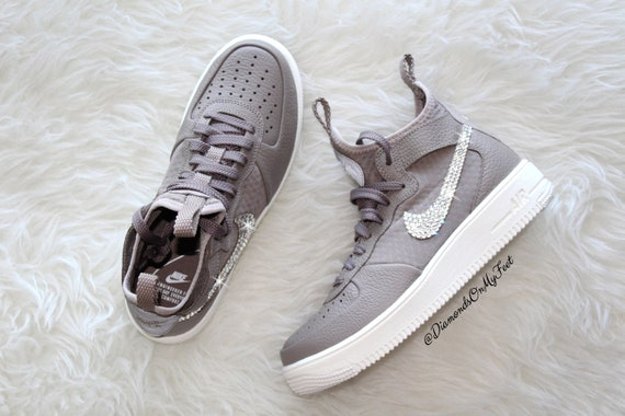 e09dd4c73dda2 Swarovski Women's Nike Air Force 1 Ultraforce Sepia Sneakers Blinged Out  With Authentic Clear Swarovski Crystals Custom Bling Nike Shoes