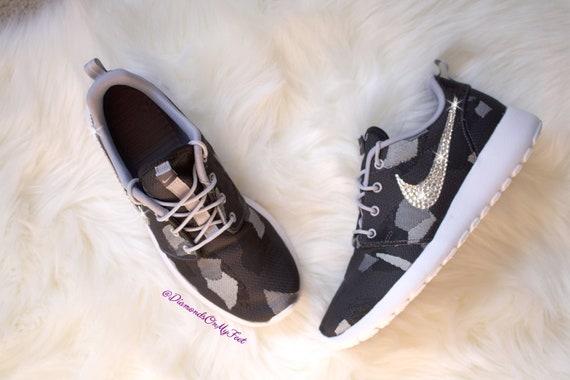 Swarovski Women s Nike Roshe Run Rare Dark Gray Camo  15ec5c188