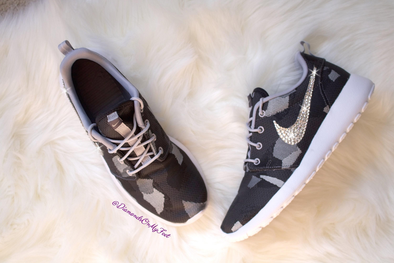promo code d1f71 c2f10 Swarovski Women s Nike Roshe Run Rare Dark Gray Camo   Etsy