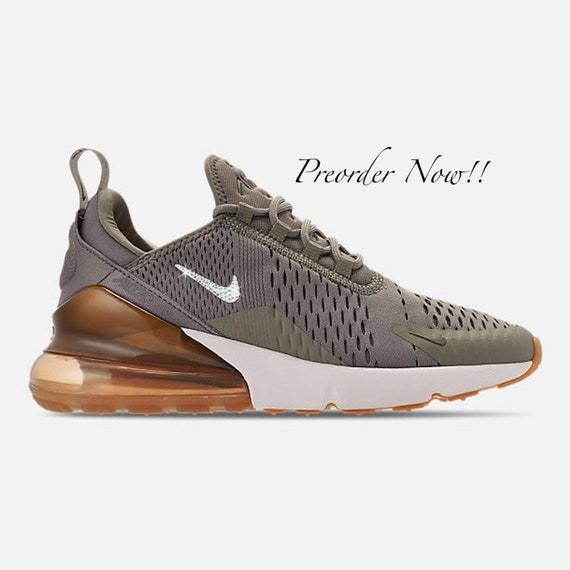 Swarovski Women's Nike Air Max 270 Olive Green Sneakers Blinged Out With Authentic Clear Swarovski Crystals Custom Bling Nike Shoes