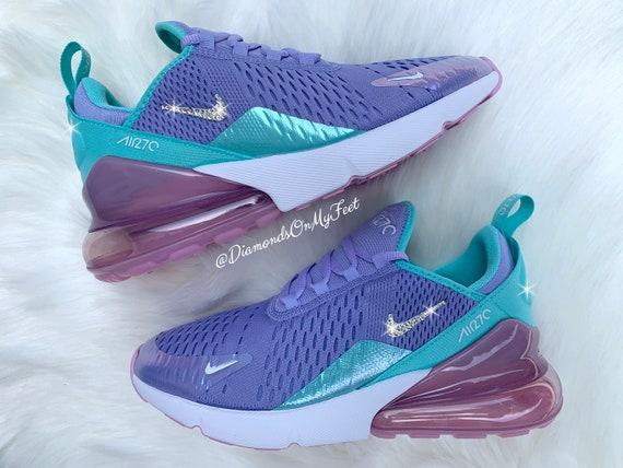 Swarovski Damen Nike Air Max 270 Einhorn Sneakers Blinged Out mit authentischen Swarovski Kristallen benutzerdefinierte Bling Nike Schuhe